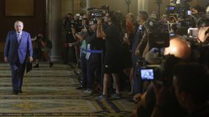 2014/Comparecencia de Jordi Pujol ante la Comisión de Afers Institucionals del Parlament, tras su confesión, en julio de 2014, de haber mantenido fondos sin regularizar en paraísos fiscales durante 34 años.