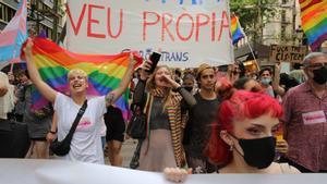 Manifestación LGTBI contra la transfobia el Día del Orgullo, en Barcelona.