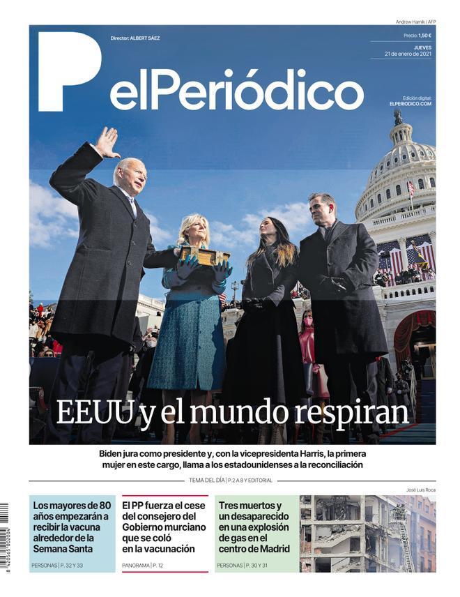 La portada de EL PERIÓDICO del 21 de enero de 2021.