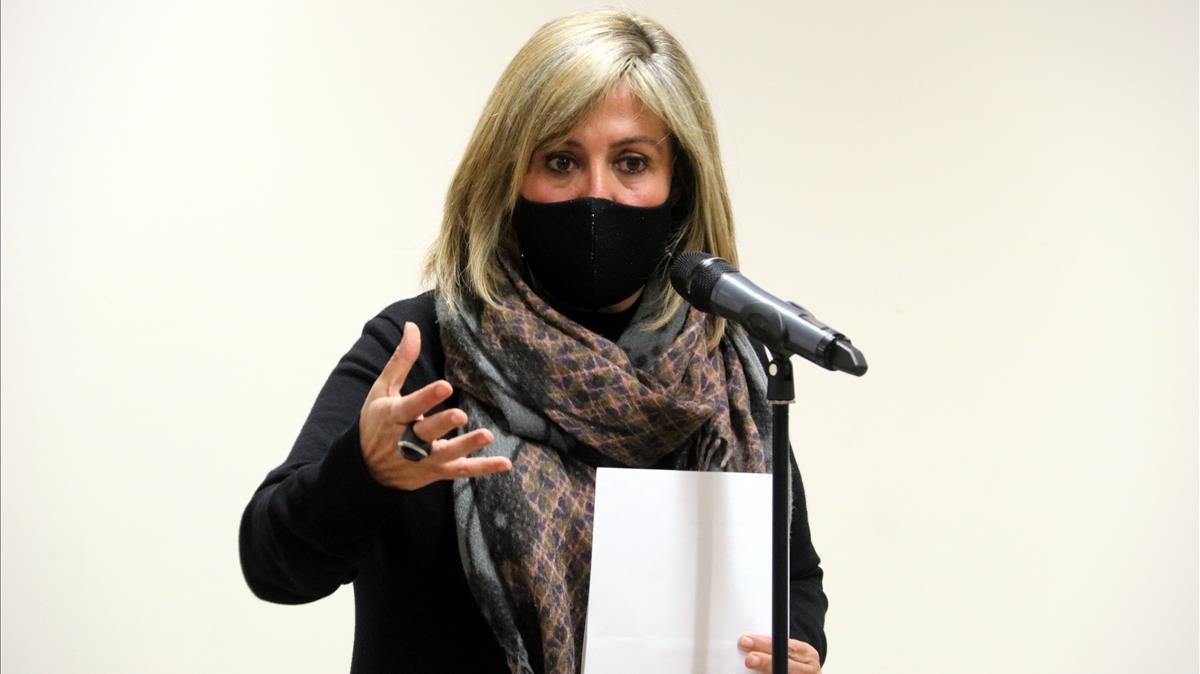 Imatge de l alcaldessa de l Hospitalet  Nuria Marin  durant la compareixenca d aquest 10 de desembre de 2020  (Horitzontal) Alex Recolons ACN
