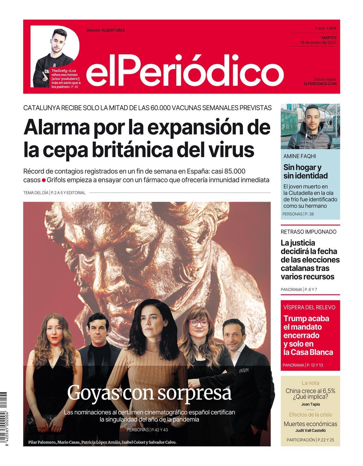La portada d'EL PERIÓDICO del 19 de gener del 2021
