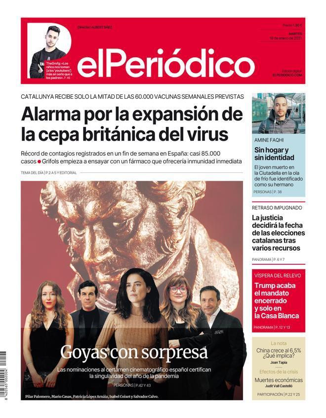 La portada de EL PERIÓDICO del 19 de enero de 2021