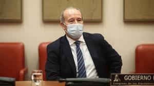 El ministro de Justicia, Juan Carlos Campo, comparece en Comisión de Justicia en el Congreso de los Diputados, en Madrid.