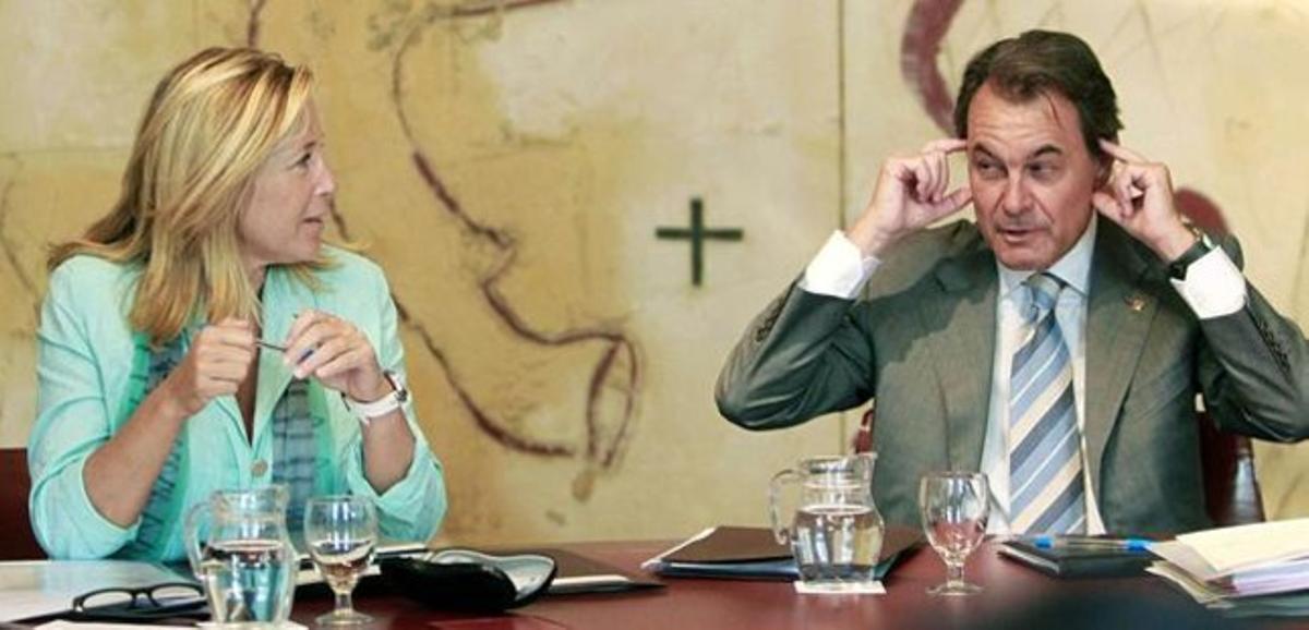 Joana Ortega y Artur Mas, en la primera reunión del Consell Executiu tras las vacaciones, el pasado 7 de agosto.