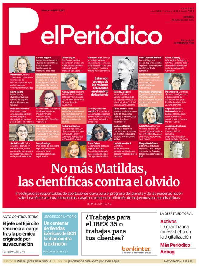La portada de EL PERIÓDICO del 24 de enero de 2021