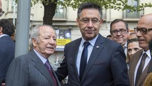 Núñez y Bartomeu, en el funeral de Montal, en marzo del 2017.