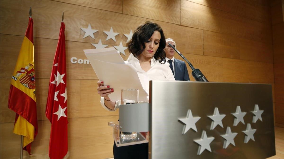 La presidenta de la Comunidad de MadridIsabel Díaz Ayuso,durante una rueda de prensa a principios de marzo