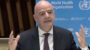 Infantino, el presidente de la FIFA, en su mensaje contra la pandemia del coronavirus.