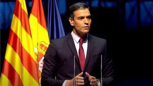 Pedro Sánchez, en su conferencia en el Liceu.