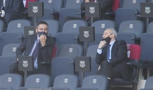 Josep Maria Bartomeu y Florentino Pérez, en el Camp Nou, en su último encuentro.