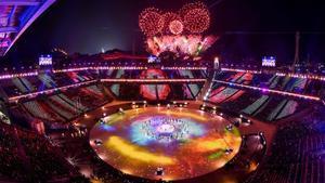 El estadio de Pyeongchang durante la clausura de los Juegos de Invierno.