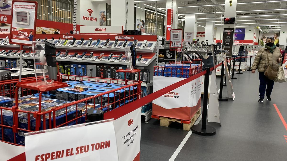 Tienda de Mediamarkt de Barcelona en plena pandemia.