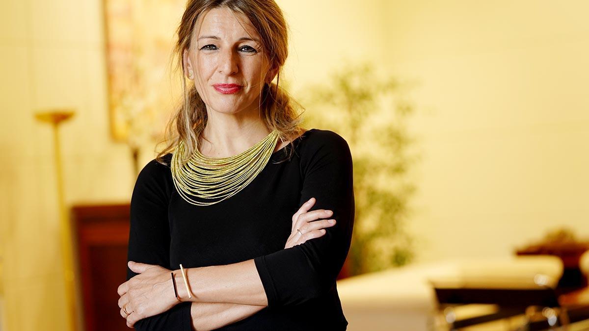 Yolanda Díaz, ministra de Trabajo y Economía Social, en su despacho.