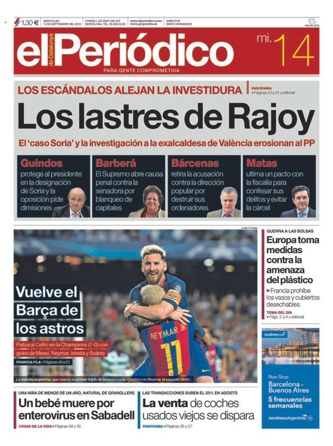 Solo Marhuenda no pide la cabeza de Barberá; el quiosco ve a Rajoy lastrado por la corrupción