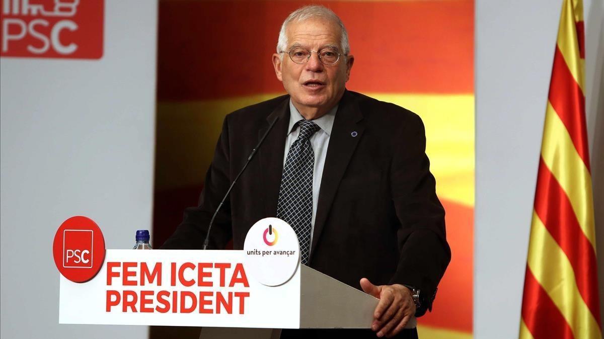 Josep Borrell, en un acto de campaña del PSC.