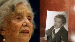 La escritora mexicana Elena Poniatowska junto a una imagen del narrrador Juan José Arreola.