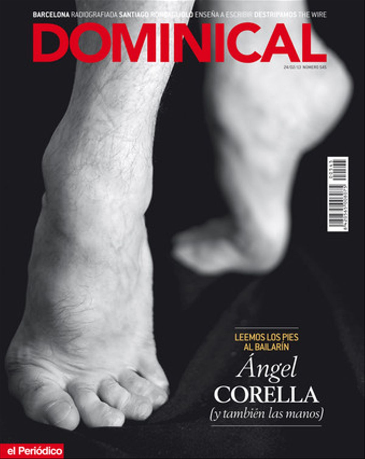 Los pies del bailarín Ángel Corella, protagonistas de la portada del 'Dominical' del 24 de febrero.