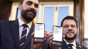 El vicepresident Pere Aragones y el president del parlament Roger Torrent en la Presentacion de los Presupuestos de la Generalitat para el 2020