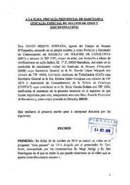Denuncia presentada por tres sindicatos de los Mossos contra el programa de TV3 'Està passant'