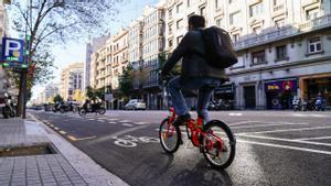 Nuevo carril bici de la calle de Aragó.