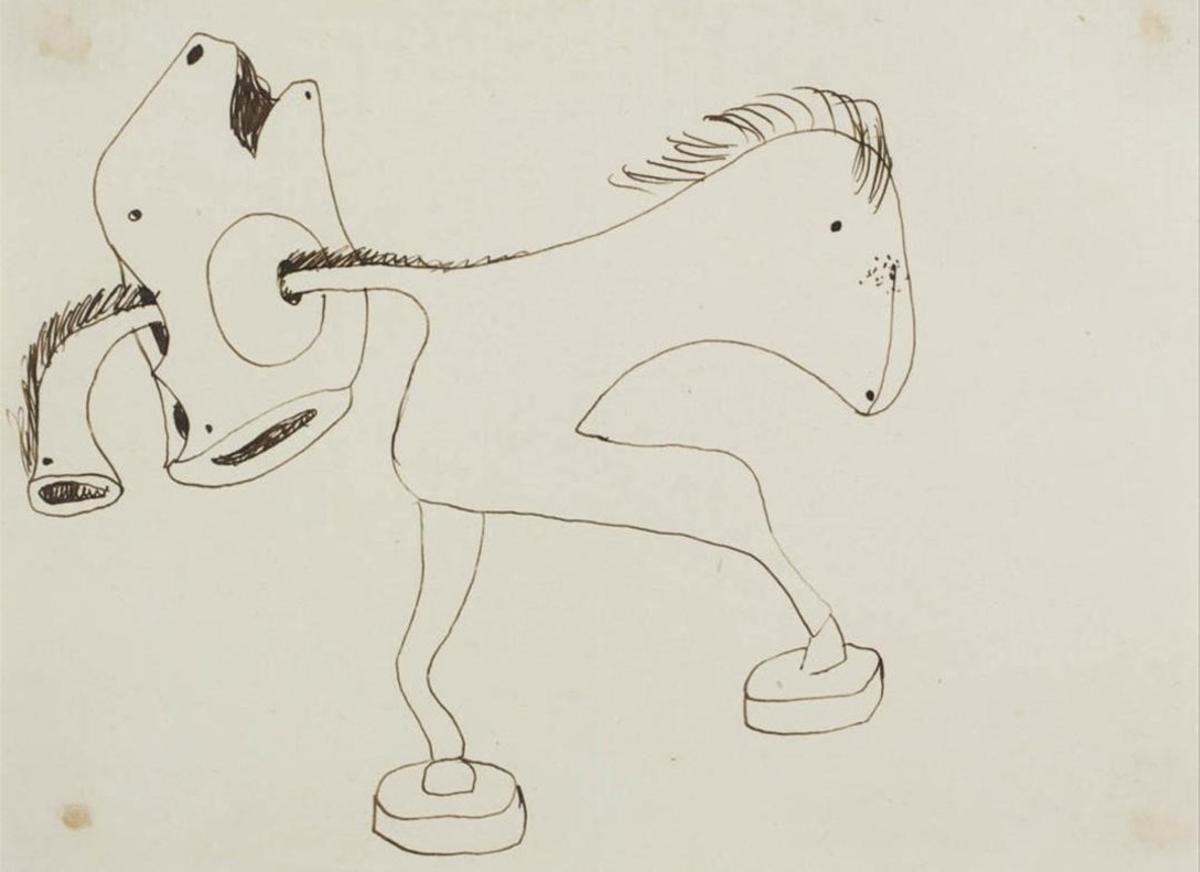 DIBUJOS.Uno de los dibujos de la serie 'El benefactor trompeta', cuyo origen y finalidad se desconocen, ya que no se ha conservado la obra final.
