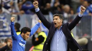 Michel celebra un gol del Málaga en el partido de Liga de esta temporada contra el Sevilla.