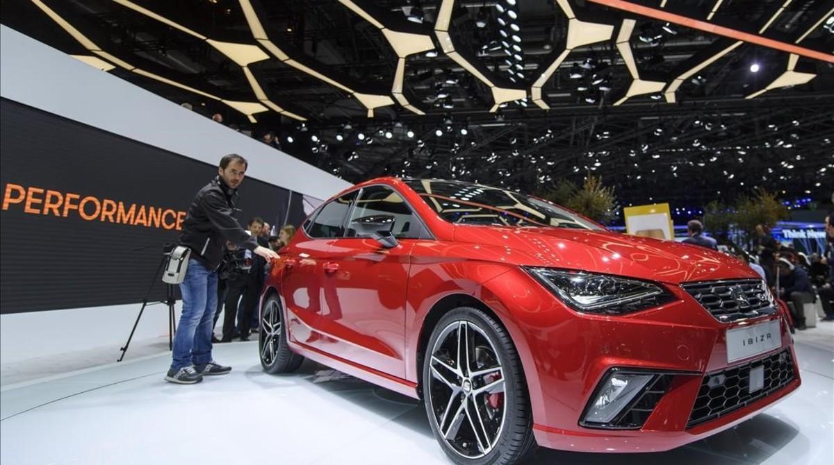 Presentación del nuevo Seat Ibiza en el Salón de Ginebra.