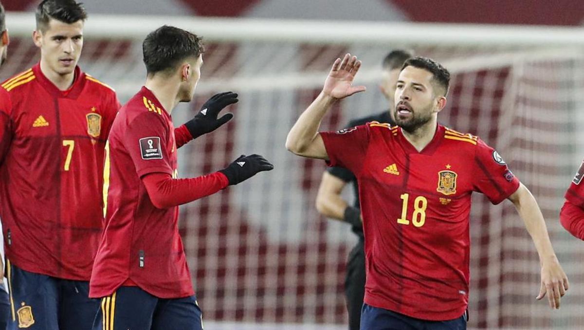 Jordi Alba y Pedri fueron claves en la victoria ante Georgia (1-2).