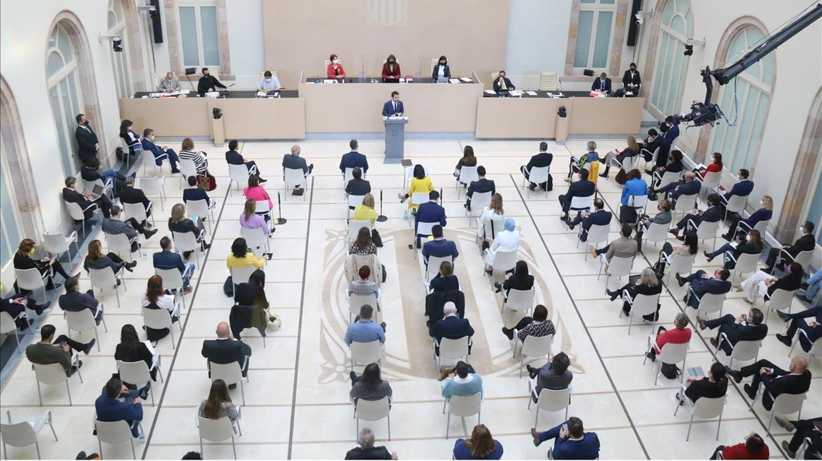 Auditorio del Parlament durante la segunda sesión de investidura.