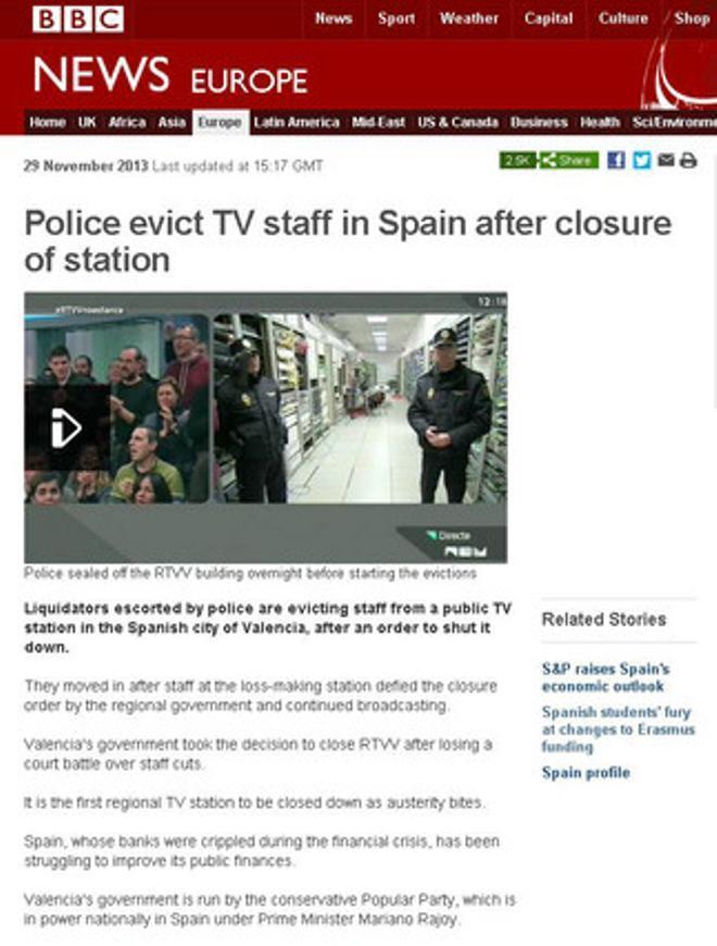 La BBC informa sobre el desalojo de los periodistas de RTVV.