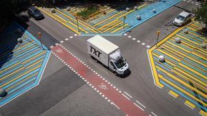 Vista aérea del cruce de las calles Consell de Cent con Rocafort, este 23 de julio