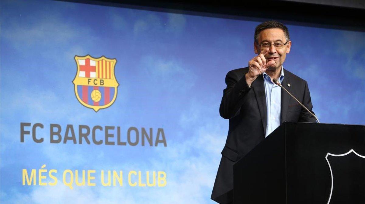 Josep Maria Bartomeu, en el Auditori del Camp Nou.