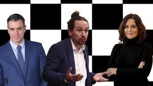 Pedro Sánchez, Pablo Iglesias e Isabel Díaz Ayuso.