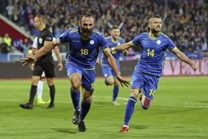 Los jugadores kosovares celebran un gol contra Malta en la Liga de las Naciones.