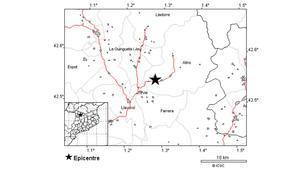 Epicentro del temblor en el Pallars Sobirà.