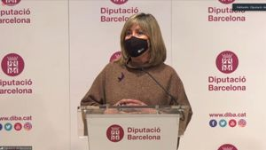 La presidenta de la Diputación de Barcelona, Núria Marín, este jueves después de aprobar los presupuestos de la institución.