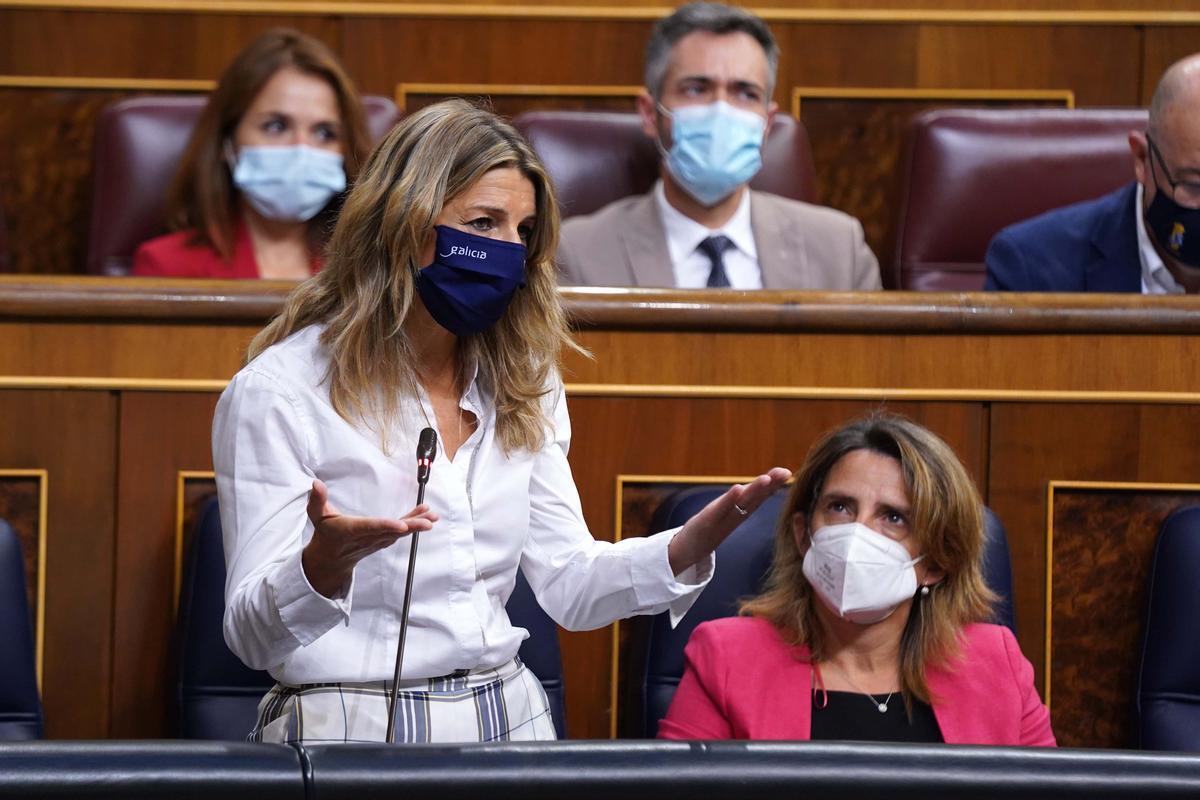 Yolanda Díaz durante la sesión de control al Gobierno celebrada hoy.