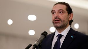 Saad Hariri, tras ser designado de nuevo primer ministro, este jueves.