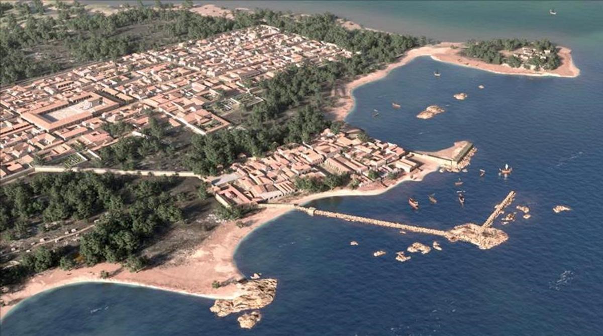 Recreación de la ciudad griega y romanba de Empúries con el puerto natural y artificial.