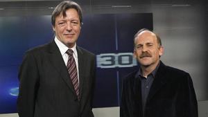 Los periodistas Joan Salvat y Eduard Sanjuán, directores de 'Sense ficció' y '30 minuts', respectivamente.