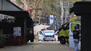 La furgoneta con la que se cometió el atentado de la Rambla.