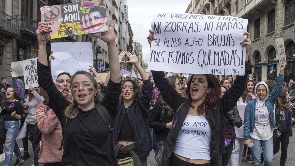 Manifestación del pasado 8-M en Barcelona.