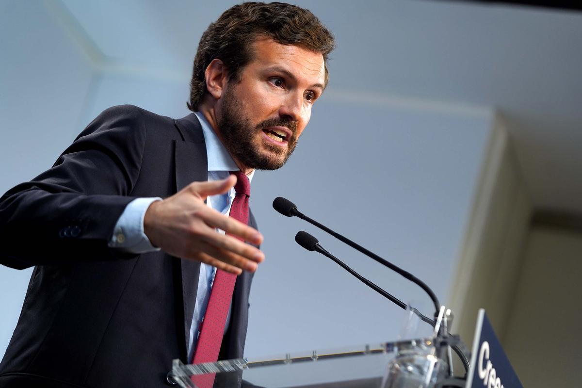 El presidente del Partido Popular, Pablo Casado, este jueves, durante la rueda de prensa de balance del curso político.