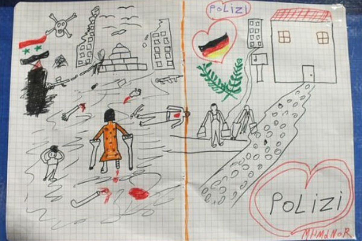 Dibujo de un niño refugiado sirio que ha enternecido a la policía de Passau (Baja-Baviera).