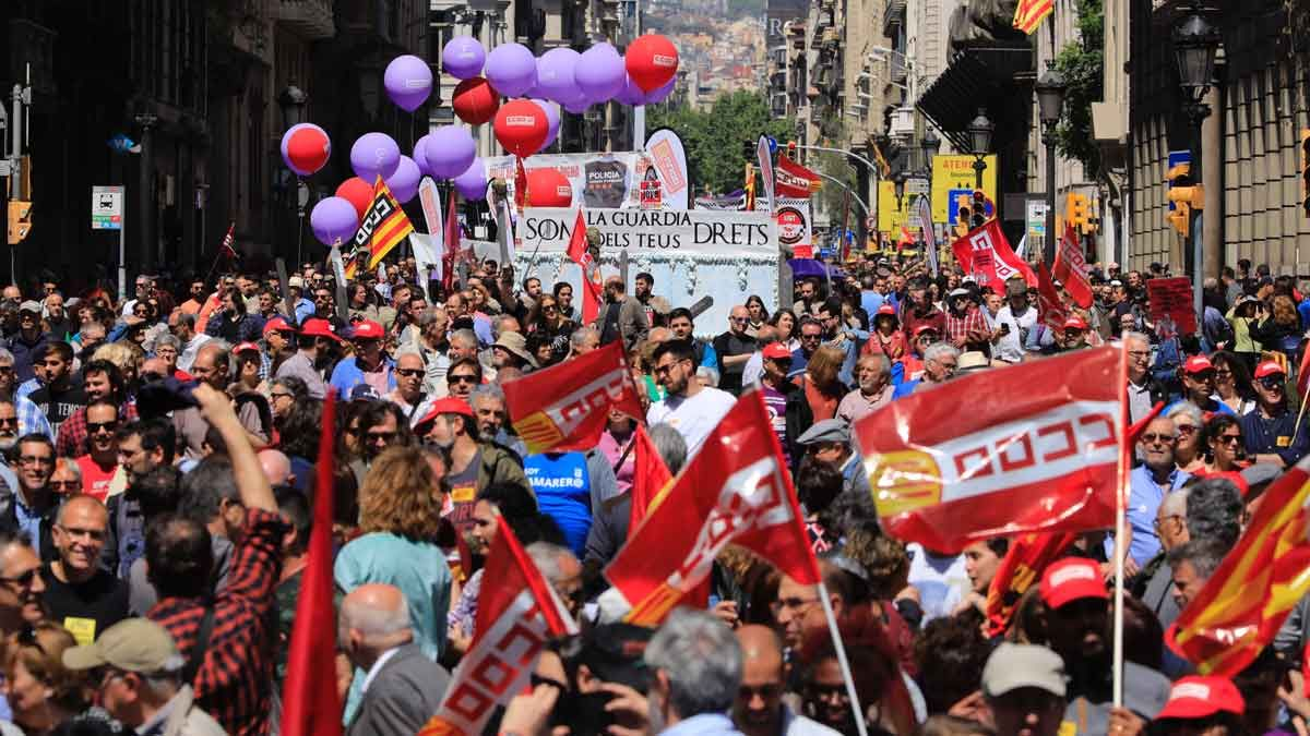 Manifestación del 1 de mayo en Barcelona.