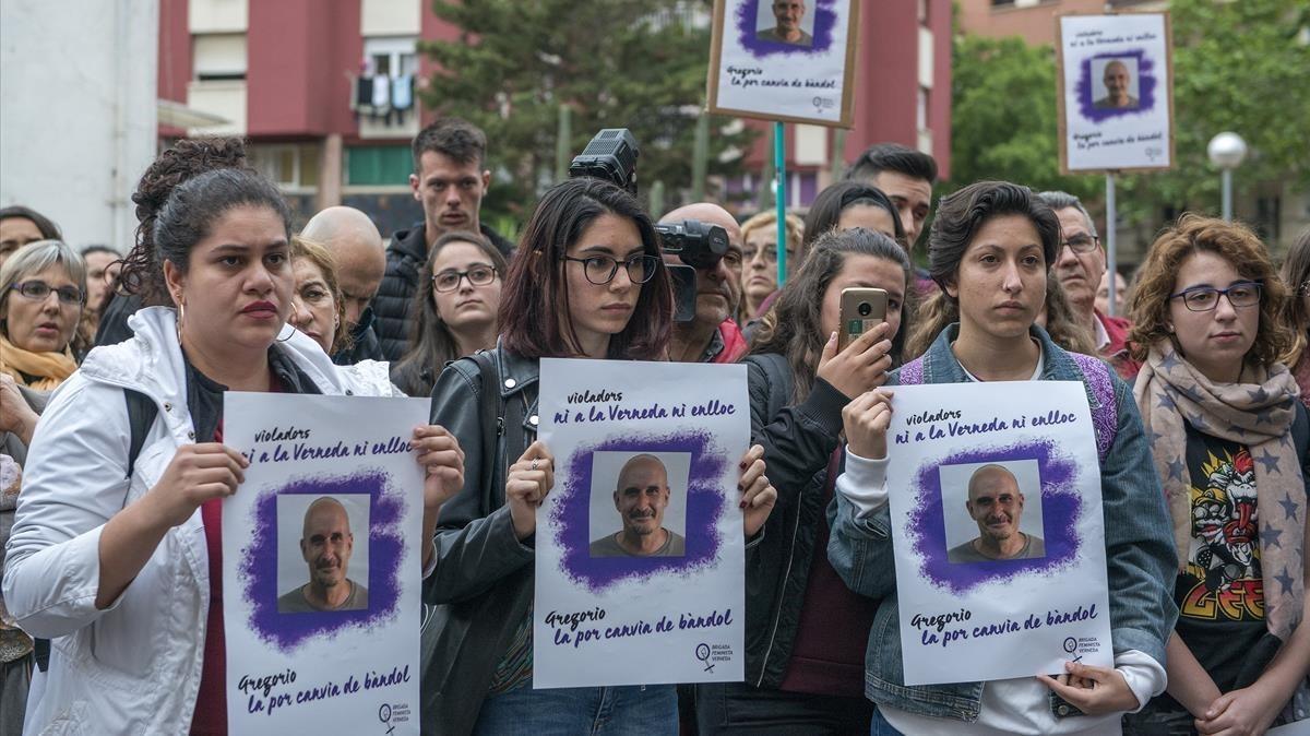 Concentración en la Verneda contra la salida de la cárcel de Gregorio Cano, tras cumplir la condena por violación.