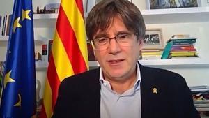 Carles Puigdemont, en un acto virtual, el pasado noviembre.