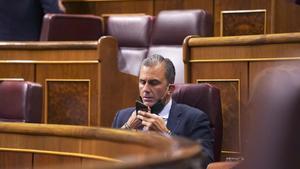 Pleno del Congreso de los Diputados que debate la Ley Orgánica de Estabilidad Presupuestaria y Sostenibilidad Financiera ,en la imagen Ortega Smith de VOX.
