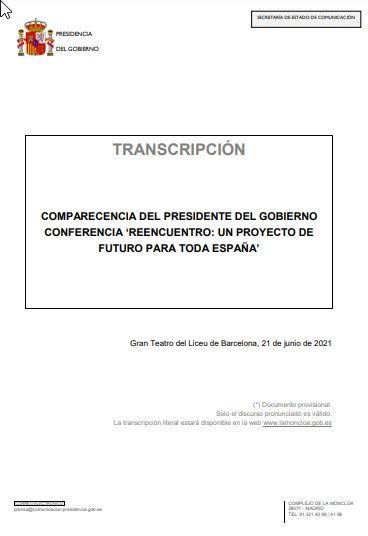 Conferencia de Pedro Sánchez en Barcelona en defensa de los indultos: 'Reencuentro: un proyecto de futuro para toda España'.