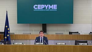 El presidente de Cepyme, Gerardo Cuerva, durante la sesión telemática sobre la solvencia de las pymes.